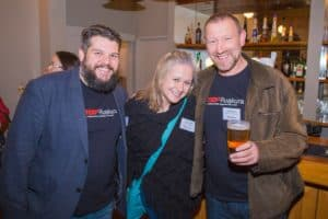 Licence holder Quentin Weber, potential sponsor Yvonne Milroy from Ebbets, and speaker coach Chris Hanlon at TEDx Ruakura 2016 Launch party
